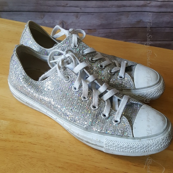 2cef7e9b032c Converse Shoes - All Star Converse silver sequin glitter sneakers